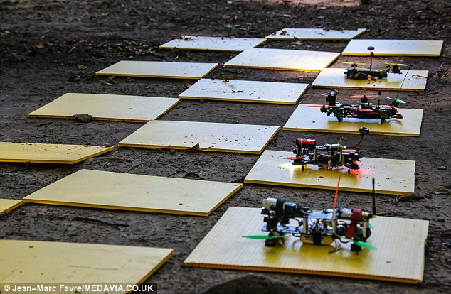 Drones getting ready to race. Photo credit: Jean-Marc Favre/MEDAVIA.CO.UK